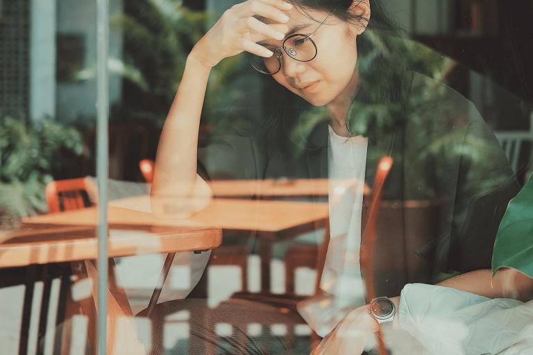 Photo of woman thinking