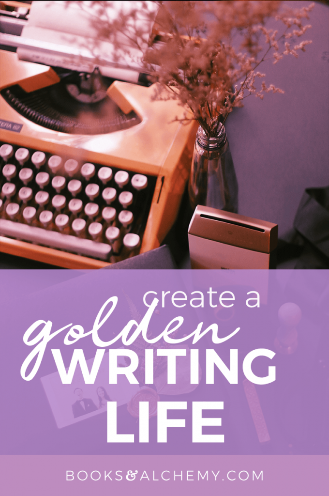 Photo of a golden typwriter