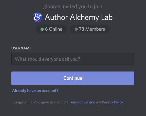 Author Alchemy Lab community invite