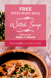 A photo of soup with a spoon, and decorative text of the post title.